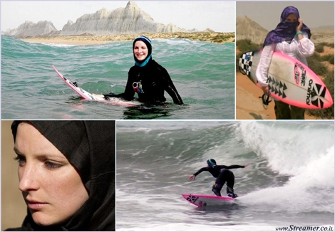 easkey Britton surfin in iran איסקי בריטון גולשת באירן