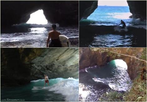 cave surfing in japan גלישה בתוך מערה מנהרה ביפן