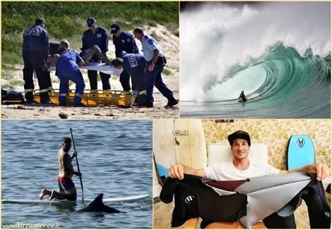 תאונת סנפירים: מפגש (כמעט קטלני) של בוגיסט עם דולפין Bodyboarder and Dolphin collision in Australia