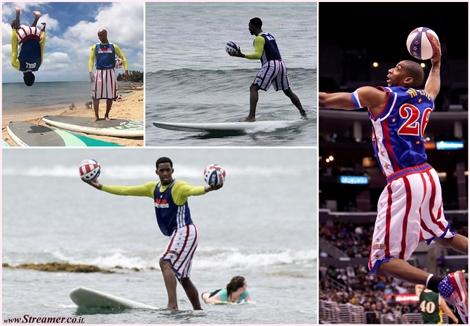 שחקני הכדורסל הארלם גלובטרוטרס גולשים The Harlem Globetrotters have gone surfing at Puaena Point Beach, on the Oahu's North Shore