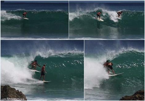 Justified anger  - Kiwi surfer tackles Brazilian drop-in הברזה של גל וכעס מוצדק בגלישה
