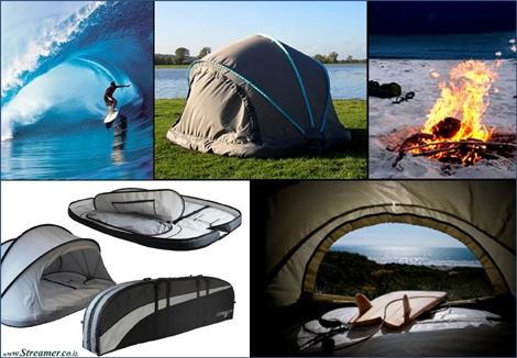 לא מנהרה. מערה! The Wave Cave גם לגלשן וגם לשינה. Sleeping in a surfboard case / cave : The Wave cave