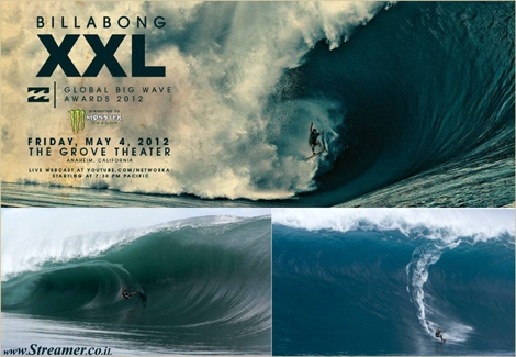 "<font color=""#003366""><strong>The ultimate surfing competition, the <font color=""#990000"">Billabong XXL Global Big Wave Awards</font> have been honoring the greatest achievements in the greatest waves worldwide. The 2011/12 nominees have been anounced and all eyes are pointed to the winner's ceremony in LA on 04.05.2012. <a href=""http://streamer.co.il/news/view/329/"">Click here to read more</a> and watch thriling teasers video clips</strong></font>"