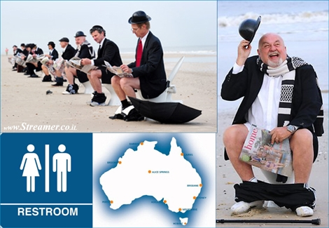 "<font color=""#003366""><strong>Only in Australia... </strong></font><font color=""#003366""><strong>What do you do to protest the lack of  restrooms at the beach? You bring your own toilet to the edge of the  surf, drop your pants, and stage a sit-in :)&nbsp; - <a href=""http://streamer.co.il/news/view/349/"">Click here to read more</a><br /></strong></font>"