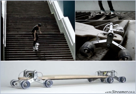 "<font color=""#003366""><strong><font color=""#8e0000"">Without braking any bones - Skateboarding the stairs with the StairRover</font>. &quot;Stair Rover&quot; is an innovative skateboard that is prepared to ride down a long set of stairs, whether it's you local tube station or a metropolitan condo. <a href=""http://streamer.co.il/articles/view/142/"">Click here to read more</a></strong></font>"