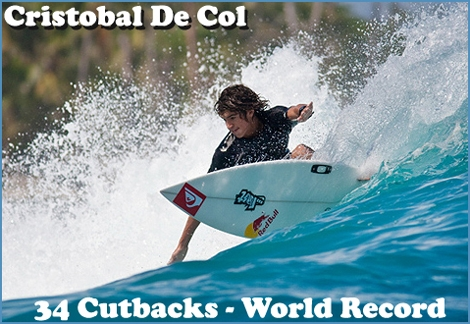 "<font color=""#003366""><strong><font color=""#990000"">New Guinness Record in surfing - 34 cutbacks on a single wave! </font>Cristobal de Col has established a new Guinness World Record for the most number of tricks ever performed in a single wave. The Peruvian completed 34 carved turns on the longest wave in the world, at the Red Bull Chicama Challenge. <a href=""http://streamer.co.il/news/view/353/"">Click here to read more</a></strong></font>"