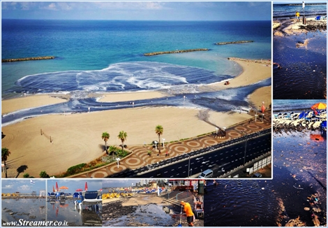 "<font color=""#003366""><strong><font color=""#840000"">Rain of blessing?</font> The first rain environmental disaster illustrates the default size of the drainage sewers into the blue sea. The beaches of Tel Aviv and Ashkelon rainfall runoff and drainage of sewage flowed into the sea clear water. Stench, cloudy water, polluted beaches and damage to the environment. </strong></font>"