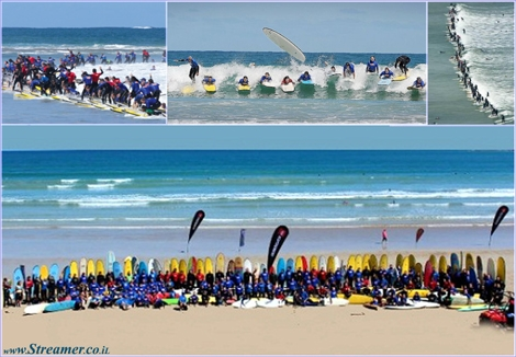 "<font color=""#003366""><strong>The Guinness world record for the <font color=""#700000"">largest number of surfers riding a single wave</font> has been set in Anglesea, Victoria, Australia. Up to 120 surfers have broken the official record set by the Guinness World Records. <a href=""http://streamer.co.il/news/view/367/"">Click here to rea and watch</a></strong></font>"