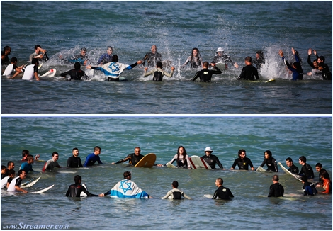 "<font color=""#003366""><strong><font color=""#3366ff"">Surfer's circle for Peace Ashkelon ...! </font>Sitting on our boards, holding hands, twenty-five surfers were as one: sharing the same feeling, harmony with nature and hopping for peace in our hearts. On Saturday 24/11/2012 and after eight days of fighting in southern Israel, we marked the return to normal in a circle of unity and brotherhood. Special Thank you to all members who participated&nbsp; in this wonderful and unique initiative - Respect and love to everyone - Aloha &amp; Peace - <a href=""http://streamer.co.il/news/view/369#circle"">Click here to watch the images</a></strong></font>"