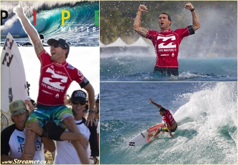 "<font color=""#003366""><strong><font color=""#990000"">OZ Power..!!! Joel Parkinson wins his maiden 2012 ASP World surfing championship.</font> A a dramatic photo finish race lived and surfed at the Billabong Pipe Masters  Hawaii. Kelly Slater, the hunter and the greatest competitive surfer  ever, wanted it all, for the 12th. Joel Parkinson was chasing his first  ASP World Tour title for 12 years. <a href=""http://streamer.co.il/news/view/374/"">Click here to read more</a></strong></font><br />"