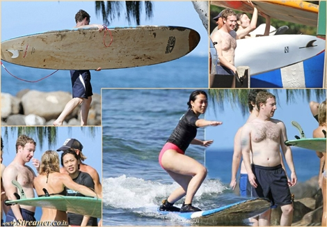 "<font color=""#003366""><strong><font color=""#700000"">Mark Zuckerberg and Wife Priscilla Chan Surfing in Hawaii</font>. The social network founder, celebrating his first Christmas with wife Priscilla Chan took some private surfing lessons on the island of Maui. The couple chatted easily with other beach-goers before taking to the waves, where Priscilla proved herself to be an accomplished surfer. Respect and &quot;Like&quot; :)</strong></font>"