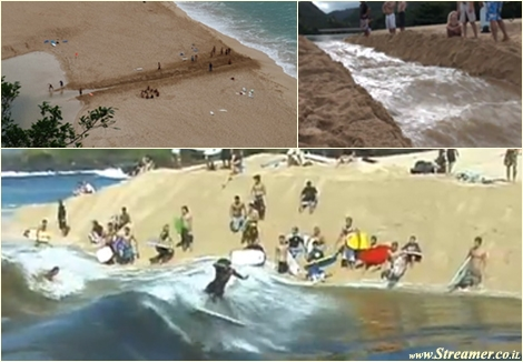 "<font color=""#003366""><strong><font color=""#8e0000"">Man made waves in Waimea...</font>:) This amazing event happens a few times every year. A bunch of dudes dig out the sand where the river meets the shore at Waimea and surf it with joy. <a href=""http://streamer.co.il/clips/view/119/"">Click here to read and watch</a></strong></font>"