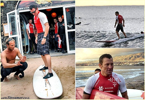 "<font color=""#003366""><strong>Five years ago, it was cool to get a picture of <font color=""#990000"">Lance Armstrong</font> surfing in the Canary Islands. Unfortunately fromer 10 times world &quot;tour de France&quot; champion, has usesd drugs throughout all his career. Make no mistake drugs don't work. <font color=""#990000"">Keep surfing pure and clean</font>.</strong></font>"