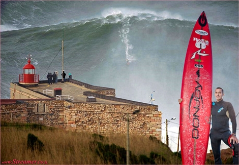 "<font color=""#003366""><strong><font color=""#7a0000"">100 ft ?</font> The ultimate challenge of the modern big wave surfing is located in Nazare, in the central region of Portugal. <font color=""#7a0000"">Garret McNamara</font>  has improved the record for the biggest wave ever surfed. The Hawaiian  caught the one of the biggest swells of the decade estimated to be 100  ft. meanwhile , portuguese scientists estimate it as 111.5 ft (34 Meters)&nbsp; <a href=""http://streamer.co.il/news/view/383/"">Click here to read</a></strong></font>"