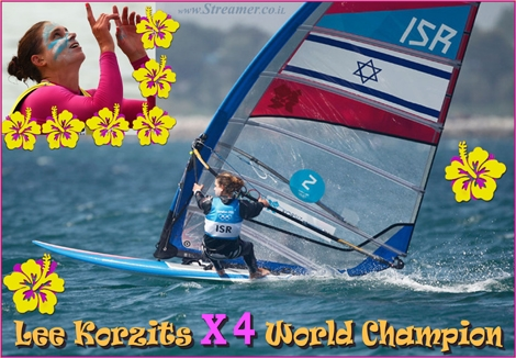 "<font color=""#650065""><strong><font color=""#1c398e"">Lee Korzititz X 4 World champion in wind surf.</font> Israeli windsurfer Lee Korzits won her 4th  world championship.  Lee Korzits, who failed to win medal at 2012  Olympics, recaptures glory  by winning third consecutive world title in  Brazil and her fourth  overall. <a href=""http://streamer.co.il/news/view/391/"">Click here to read</a> - Respect!!! </strong></font>"