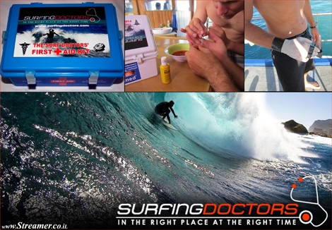 "<font color=""#003366""><strong>Are you ready to embark on the surf trip of your dreams? Make sure you're carrying &quot;T<font color=""#650000"">he Surf Doctors' First Aid Kit</font>&quot;.  life has its surprises and The Surf Doctors' First Aid Kit&quot; has been  prepared to keep travelers away from hospitals and continuing on their  surf holidays. <a href=""http://streamer.co.il/news/view/407/"">Click here to read</a></strong></font>"