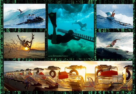 "<font color=""#003366""><strong><font color=""#650000"">The Matrix Array of surfing!</font>  Bullet time is the effect achieved when a subject is surrounded by  cameras that are all fired at the same time. You might know it as the  Matrix effect. Some creative surf videographers achieved a similar  effect using a custom rig fitting ten's of cameras. <a href=""http://streamer.co.il/clips/view/125/"">The results are here for you to watch</a></strong></font>"
