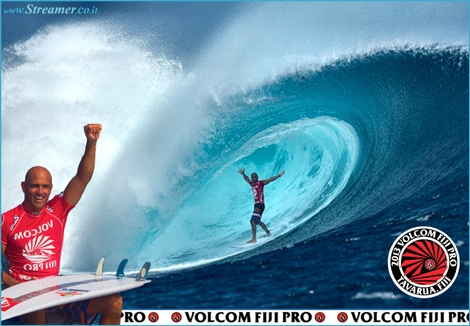 "<font color=""#003366""><strong><font color=""#650000"">Super Slater</font>!  Kelly Slater has conquered the Volcom Fiji Pro 2013, in solid  six-to-eight foot (2 meter) waves at Cloudbreak, and takes the lead of  the 2013 ASP World Tour rankings. <a href=""http://streamer.co.il/news/view/422"">Click here to read more</a></strong></font>"