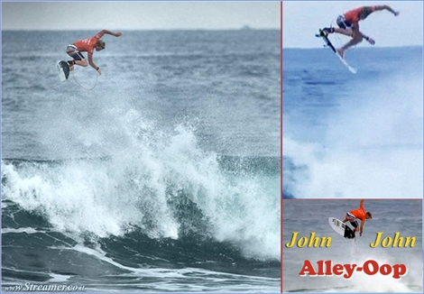 "<font color=""#003366""><strong><font color=""#700000"">John John Florence</font> scored one of the biggest air / Alley-Oop ever seen in competitive surfing, during the Oakley Pro Bali 2013, at Keramas, Indonesia. <a href=""http://streamer.co.il/clips/view/128/"">click here to read and watch</a></strong></font>"