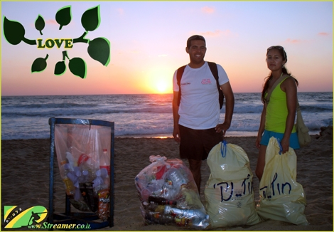 "<font color=""#003366""><strong><font color=""#008000"">Love is what we have:) </font>On  Friday 05 July 2013 we have conducted a modest and symbolic beach  clean-up project at Gute beach Ashqelon. Apperantly it takes a few  people to make the beach dirty and Three brave people to clean it.  Respect to the dear green friends!</strong></font>"