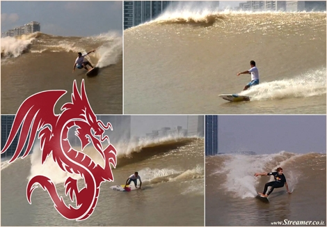 "<font color=""#003366""><strong><font color=""#5b0000"">Red bull tidal bore surfing contest 2013 china.</font> This is probably the first ever competition held on a tidal bore. The Red Bull Qiantang Shoot Out pits teams of surfers against each other in a river wave. <a href=""http://streamer.co.il/news/view/442/"">Click here to read and watch</a></strong></font>"