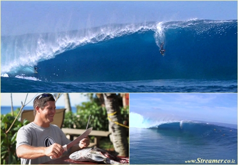 "<font color=""#003366""><strong><font color=""#650000"">BIG wave priority - Surfer Vs bodyboarder.</font> Sapinus, Tahiti, French  Polynesia. After being towed into a solid perfect 12-foot barrel,  Dave Wassel sees John Duval, a local bodyboarder, paddling and dropping in.  The result is a double wipeout. <a href=""http://streamer.co.il/news/view/446"">Click here to read</a></strong></font>"