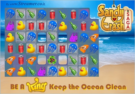 "<font color=""#003366""><strong><font color=""#5b0000"">SANDY TRASH SAGA</font>.  Streamer's Eco version to the addictive game of Candy crush. Be a King,  Keep the ocen clean! Clear all the jelly (fish), Bring down / out all  the trashy ingredients and more. Click on main photo to <a href=""http://www.streamer.co.il/tzalam-pic/Sandy_Trash_Big_Web.jpg"" target=""_blank"">watch the game's picture in large</a>. Original concept and graphics by Yoav N. &quot;Streamer&quot;</strong></font>"