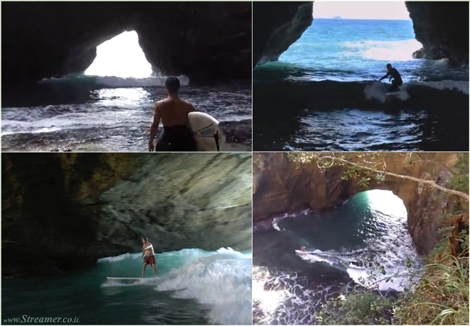 "<font color=""#003366""><strong><font color=""#5b0000"">Cave surfing Japan.</font> This a spot you haven't surfed yet... When surfers believe to have unveiled all surf spots of the world's continents, there's always another one ready to be discovered. Welcome to the surf cave, a secret spot in Japan literally surrounded by rocks. <a href=""http://streamer.co.il/news/view/474"">Click here to read and watch</a></strong></font>"
