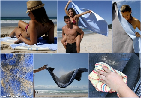 "<font color=""#003366""><strong><font color=""#5b0000"">Sandusa: High-Tech Beach Towel Repels water &amp; Sand.</font> </strong><strong>An  Australian innovator has created a beach towel that prevents sand from  sticking to its underside, thanks to a waterproof layer and a vinyl  bottom. <a href=""http://streamer.co.il/news/view/486"">Click here to read</a><br /></strong></font>"