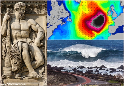 "<font color=""#003366""><strong><font color=""#510000"">Black Swell: Hercules is making waves in Europe.</font> The &quot;Black Swell&quot; is  hitting UK, Ireland and Portugal. Huge waves have been spotted, as the  storm passes through the Azores Islands and heads to Continental Europe. <a href=""http://streamer.co.il/news/view/487"">Click here to read</a></strong></font>"