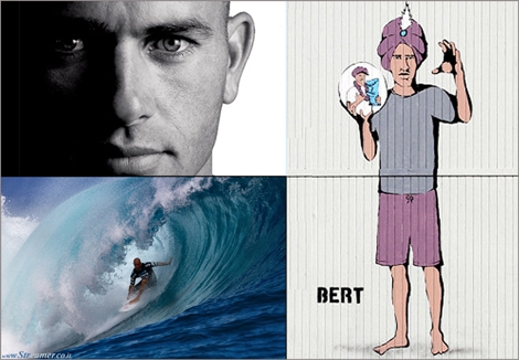 "<font color=""#003366""><strong><font color=""#510000"">The prophecy: Kelly Slater the fortune teller.</font> The art titled &quot;Slater's Hawaiian Pipe Dream&quot; depicts 11x champion and 2013 Pipe Master Kelly Slater as a fortune teller, with a crystal ball in hand containing an image of Slater with the Pipe Master's trophy. <a href=""http://streamer.co.il/news/view/489"">Click here to read</a></strong></font>"