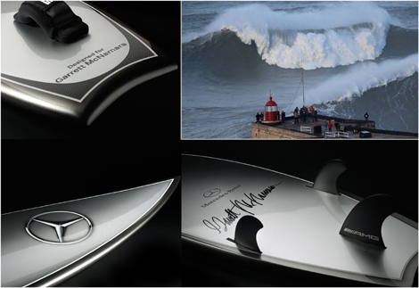 "<font color=""#003366""><strong><font color=""#510000"">McNamara's Mercedes.</font> Garrett McNamara has teamed up with Mercedes-Benz to shape special surfboards for the waves of Praia do Norte, in Nazare, Portugal. A  surfboard deemed as the &lsquo;silver arrow of the seas&rsquo;. <a href=""http://streamer.co.il/news/view/498"">Click here to read</a></strong></font>"