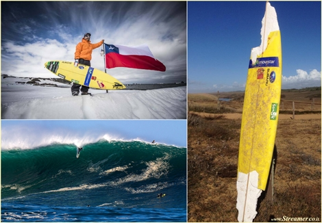 "<font color=""#003366""><strong><font color=""#510000"">Surfboard is back after 330 miles &amp; 2 months in sea.</font> Ramon Navarro of Chile lost his board at a big surf contest held in Bilbao in Nothern Spain. It was found after drifting for over two months in the Bay of Biscay, at a beach at Olonne sur Mer, in&nbsp; France, 300 miles + from where it was lost.<a href=""http://streamer.co.il/news/view/503""> Click here to read more</a></strong></font>"