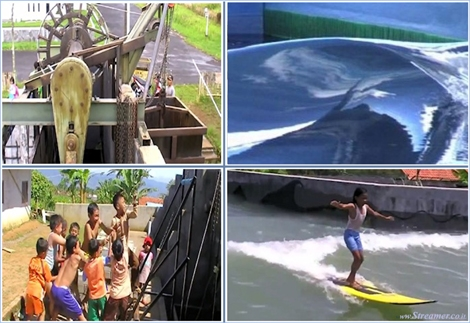 "<font color=""#003366""><strong><font color=""#5b0000"">Fred's Wave - The surf pool powered by human muscles.</font> A surfer from Australia named Fred Coblyn engineered and designed the full functioning back yard wave pool that only uses human muscles to pump waves. <a href=""http://streamer.co.il/news/view/508"">Click here to read</a> about &quot;Fred's Wave&quot;&nbsp; in&nbsp; Indonesia.</strong></font>"