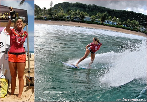 "<font color=""#003366""><strong><font color=""#510000"">Champ with one hand!</font> Bethany Hamilton has conquered the Surf N Sea Pipeline Women's Pro 2014, at Banzai Pipeline, Hawaii. A nother triumph by Bethany to be inspired by. <a href=""http://streamer.co.il/news/view/511/"">Click here to read</a> </strong></font>"