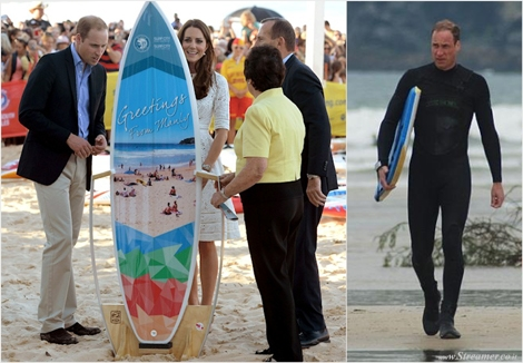 "<font color=""#003366""><strong><font color=""#5b0000"">Royal Surfboard.</font> Prince William offered a new custom shaped six-foot surfboard by the  mayor of Manly, in Australia. This is not new to him, The Duke of Cambridge was a keen water sports enthusiast. He was spotted catching waves in Cornwall and Portugal, several times in the last decade. <a href=""http://streamer.co.il/news/view/518/"">Click here to read</a></strong></font>"