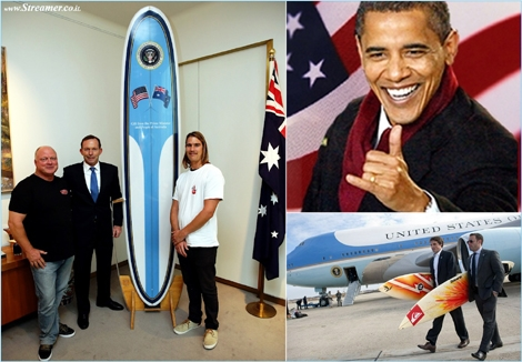 "<strong><font color=""#003366""><font color=""#5b0000"">Surf Force 1</font> - Taking off with the presidential &quot;surfboard 1&quot;. The Australian Prime Minister Tony Abbott has offered Barack Obama a custom-made longboard shaped at Bennett Surfboards. <a href=""http://streamer.co.il/news/view/540/"">click here to read</a><br /></font></strong>"