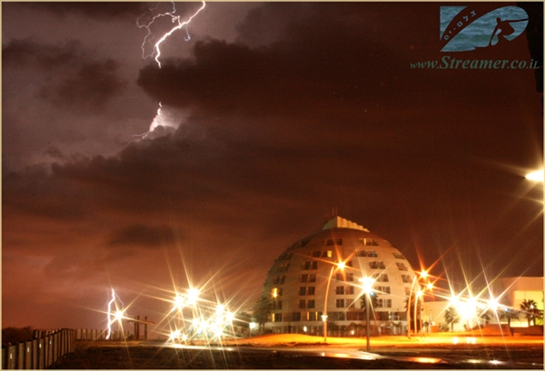 """National Ashqelongraphic"" - lightning storm and elcetricity in the Air, Late night at Kever Ha-Sheich beach Wednesday 21.11.07 - Nature at it's best - an inspiering photo of respect and fear to nature fury"