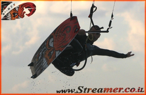 Streamer's Kytesurf reminder - The Man who learned to fly...  Moshe at Ashqelon beach January 08