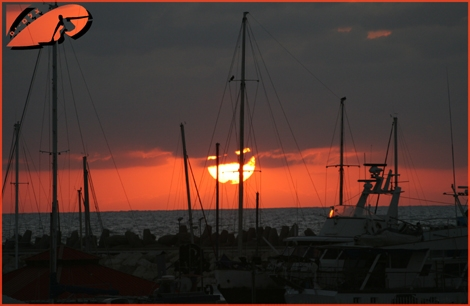A Red Sunset over the boats at Marina Ashqelon- March 2008