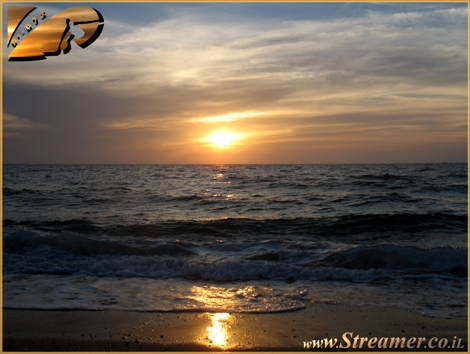 Golden Sunset - Last minutes of the Day at The mediterranean beach of Ashqelon - June 08