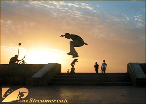 Rolling and Jumping at the local skatepark in Ashqelon - Nature's Sunset is smiling back with golden rays. Watch the previous Daily Show of June 6th.