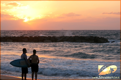 Surfers and Sunset - the rich collors of nature. Kever Ha-Sheich beach, Ashqelon June 08