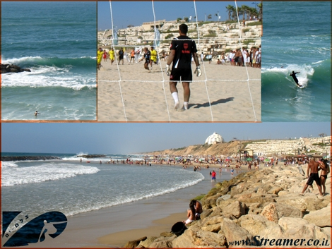 lots of Action at the Local beach of Ashqelon - Beach Football next to Big surfing conditions - Summer of 2008