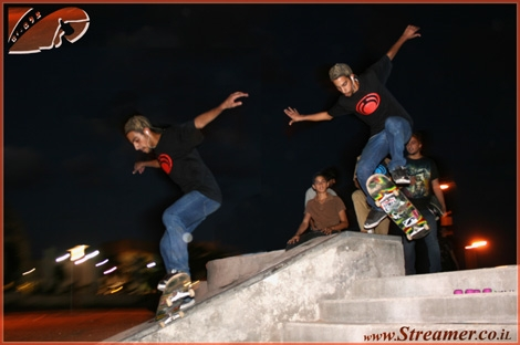 Skatepark Party - The New year is opened with a freestyle competition. Lior Yosef, The local skateboarder is grinding rails at this siquenced photo.