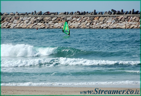 One moment in life - A wind surfer passing by. Ashkelon Marina Jan 09