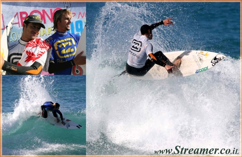 Adi Gluska is the big winner of Billabong Up North surfing competiton in Nahariya. 1st runner up is Yoni Klein.