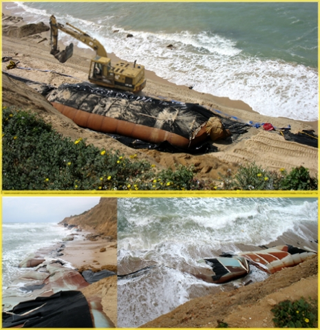 "<p>The Sleeves were placed at Kever Ha-Sheich beach at 2006 (Top photo)&nbsp;inorder to prevent the ongoing collapse of the clif and Narrow beach, But 3 years later 2009 the Impact of waves are taring&nbsp;them appart... The solution to this problem woud be An <a href=""http://streamer.co.il/articles/cat/artificial_reef_project/"">Artificial Reef - More detalis in this Article</a></p>"