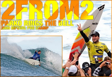Joel Parkinso rings the bell at Rip-Curl Pro Bell's beach australia.