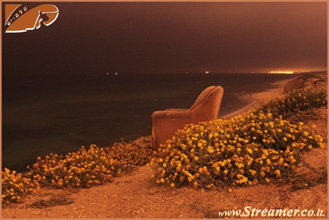 Looking north from Ashqelon. Midnight at the beach. The Chair is ready for anyone who wants to feel like king:-) May 09